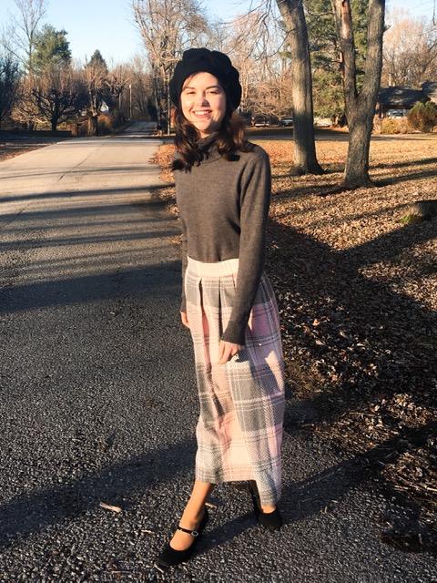 pink plaid skirt 2
