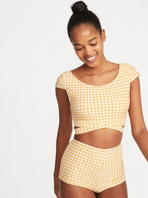 old navy yellow gingham