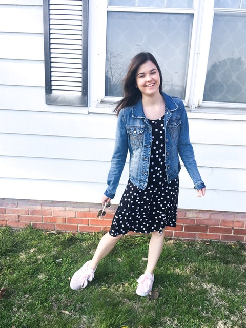 polka dot dress & tennis shoes 1