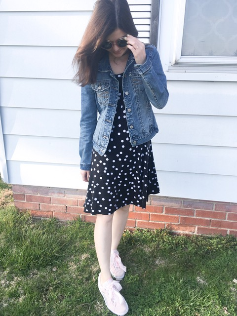 polka dot dress & tennis shoes 3
