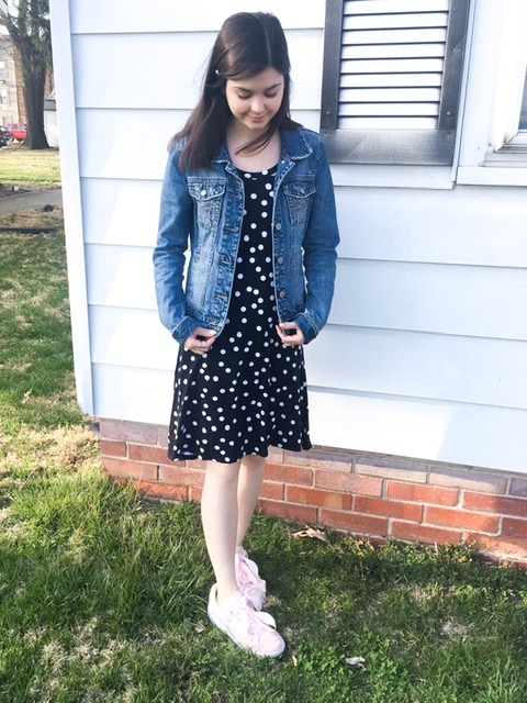 polka dot dress & tennis shoes 5