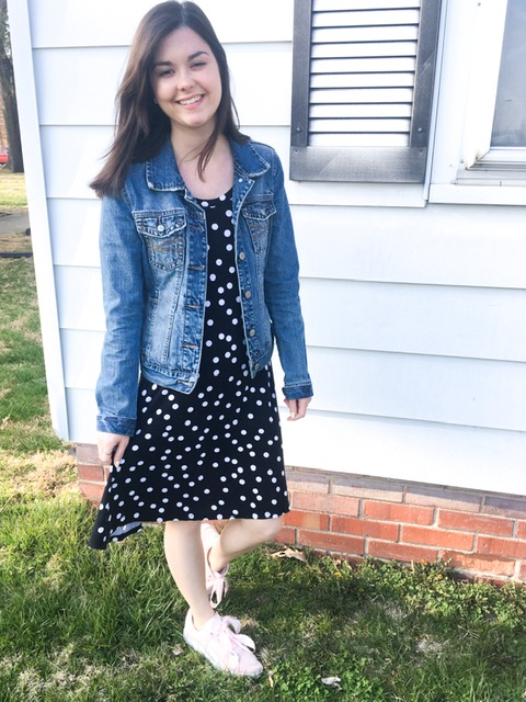 polka dot dress & tennis shoes 6